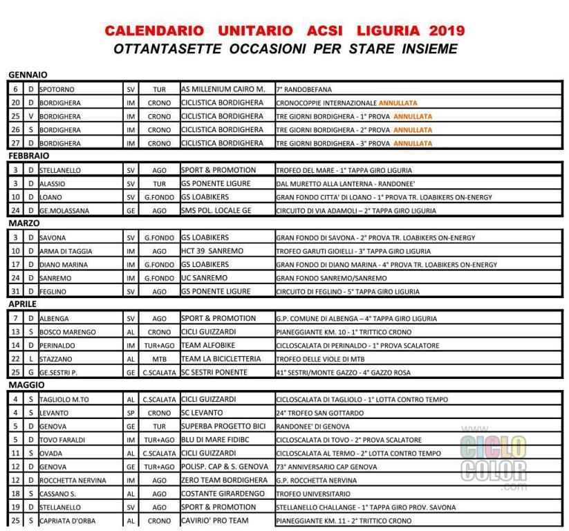 Calendario Regionale Liguria.Acsi Calendario Gare 2019 Acsi Regione Liguria Liguria