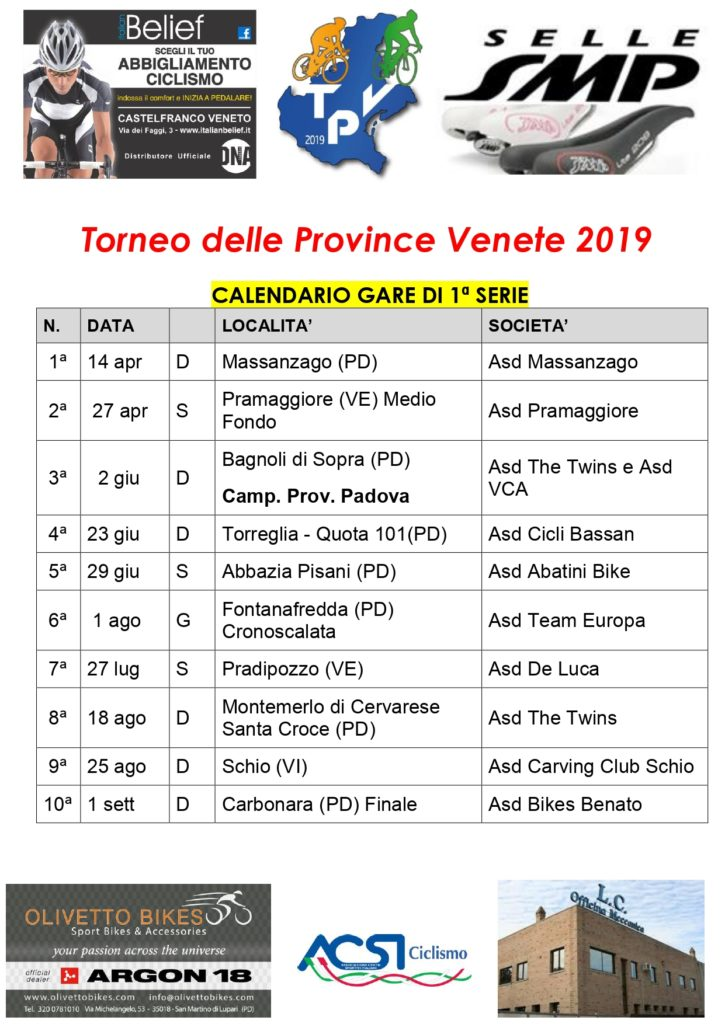 Calendario Seconda Categoria Veneto.Acsi Calendario Strada Torneo Delle Province 2019 Di 1ª E