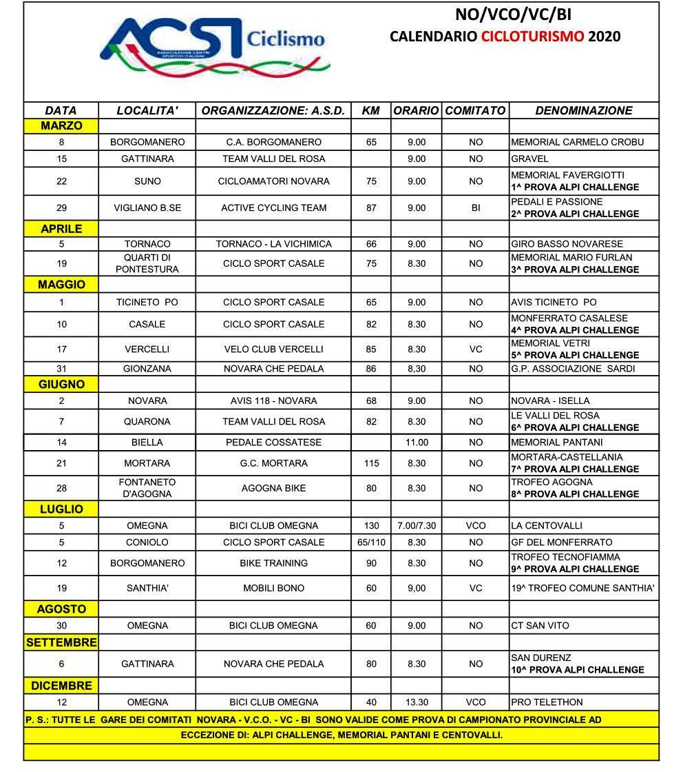 ACSI – Calendario 2020 Cicloturismo Province di Novara/V.C.O.