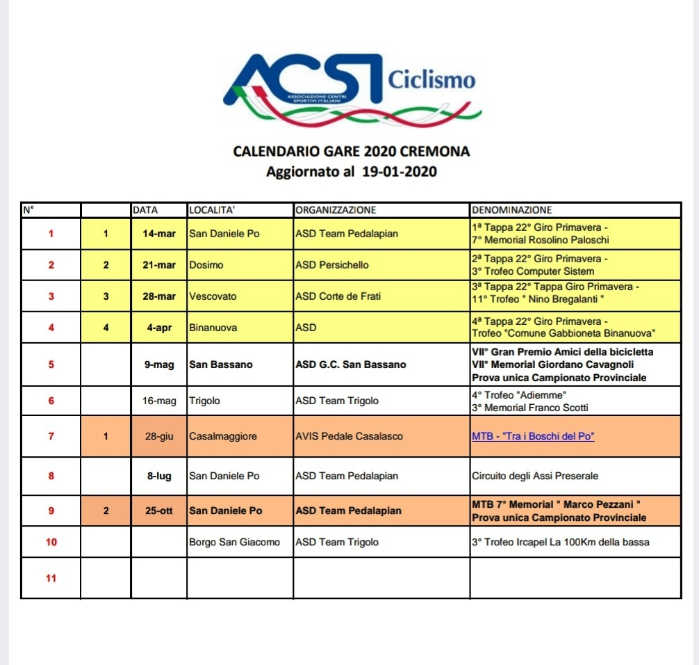 ACSI   Calendario 2020 Strada MTB e Cicloturismo Provincia di