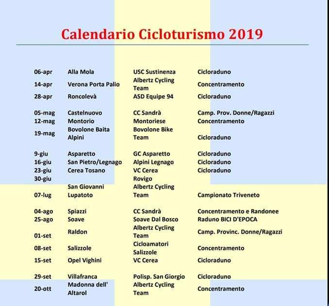 Calendario Verona.Acsi Calendario 2019 Gare E Cicloturismo Provincia Di
