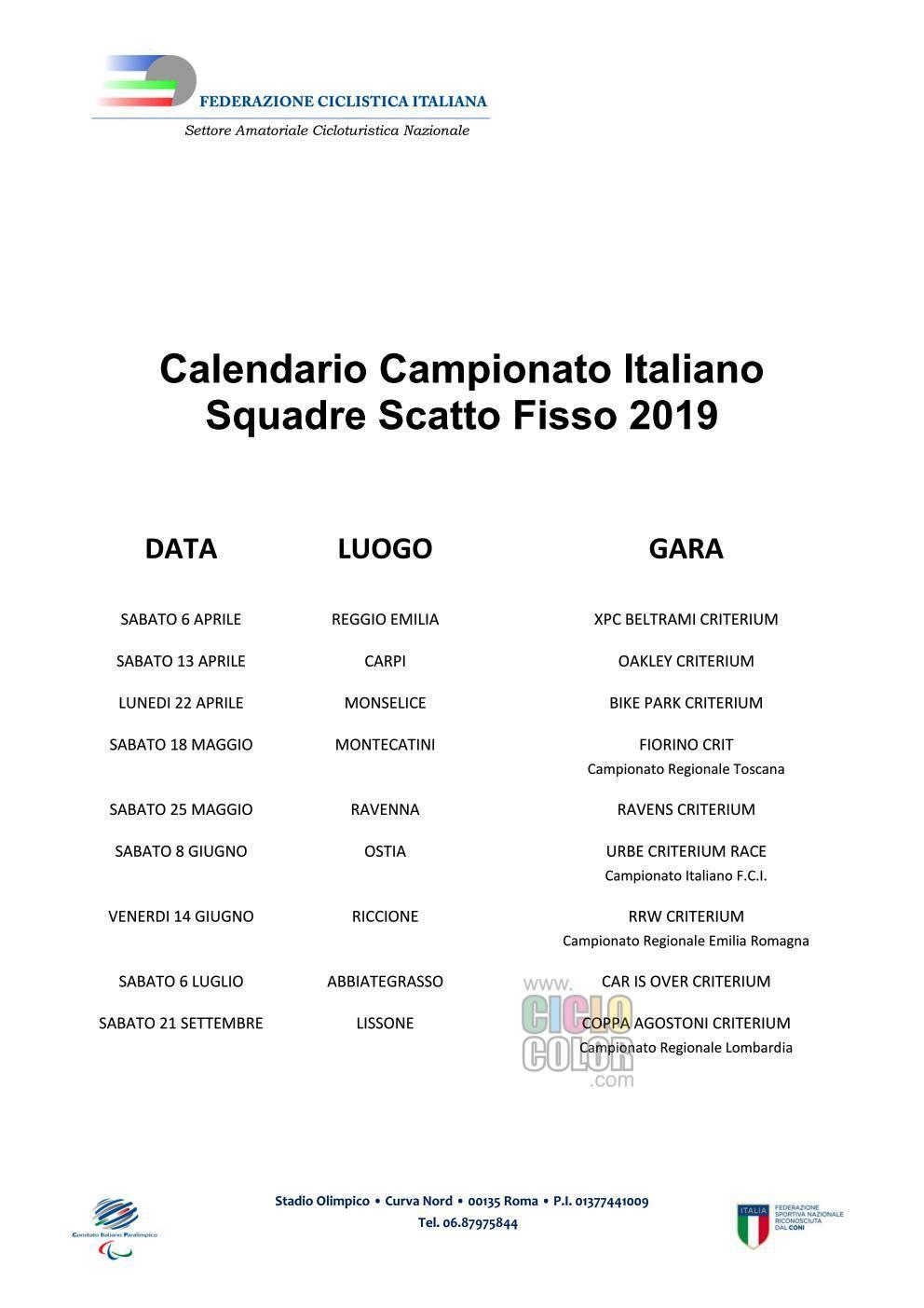 Fci Calendario.Fci Calendario 2019 Fixed Campionato Italiano Squadre