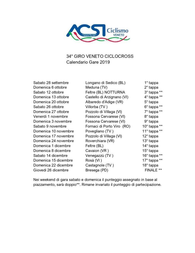 """ACSI – Calendario e Regolamento """"Giro del Veneto Ciclocross 2019"""