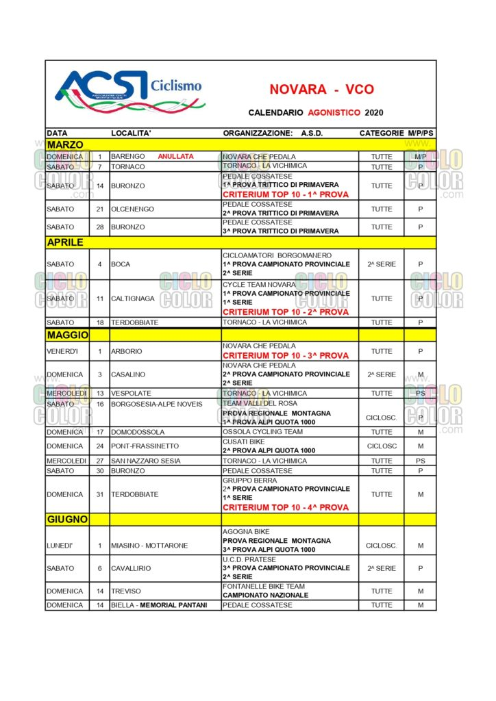 ACSI – Calendario Strada Cicloturismo e MTB Novara 2020 – Piemonte