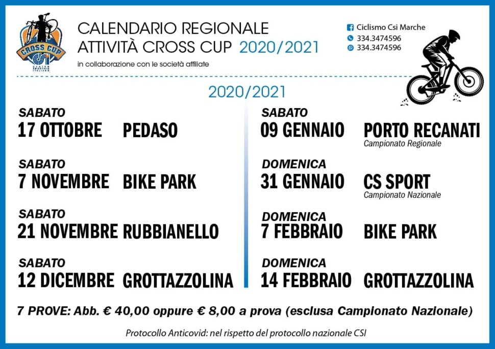 CSI   Calendario Cross Attività Cross Cup 2020/2021   Marche
